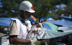 A volunteer for the Red Cross in Haiti