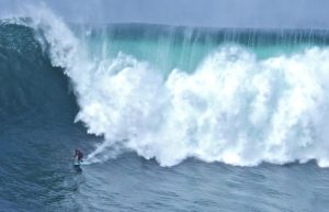Big wave surfing on Aileen's Wave off the coast of Co. Clare
