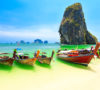 Few longboats at Railay beach, Krabi, Thailand